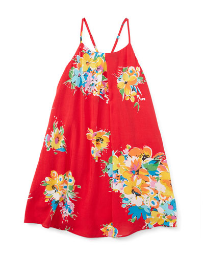 Floral Voile Racerback Shift Dress, Red/Yellow, Size 5-6X