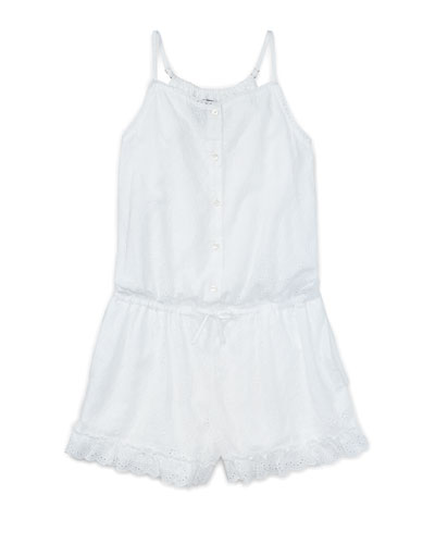Sleeveless Floral Eyelet Romper, White, Size 5-6X