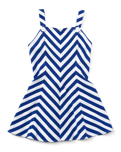 Sleeveless Striped Fit-and-Flare Jersey Dress, Blue, Size 5-6X