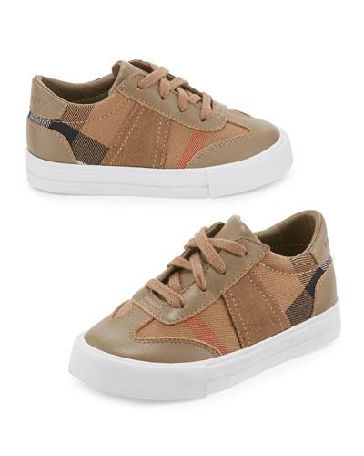 Longsley Leather-Trim Check Sneaker, Mink Gray, Toddler