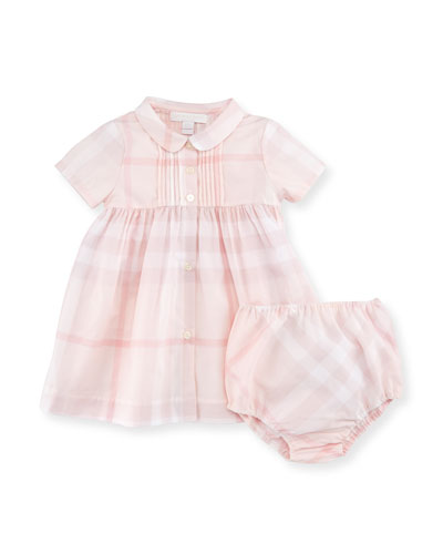 Gabriela Short-Sleeve Smocked Check Dress w/ Bloomers, Ice Pink, Size 3-24 ...
