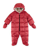 Skylar Quilted Down Snowsuit, Peony Rose, Size 3-18 Months