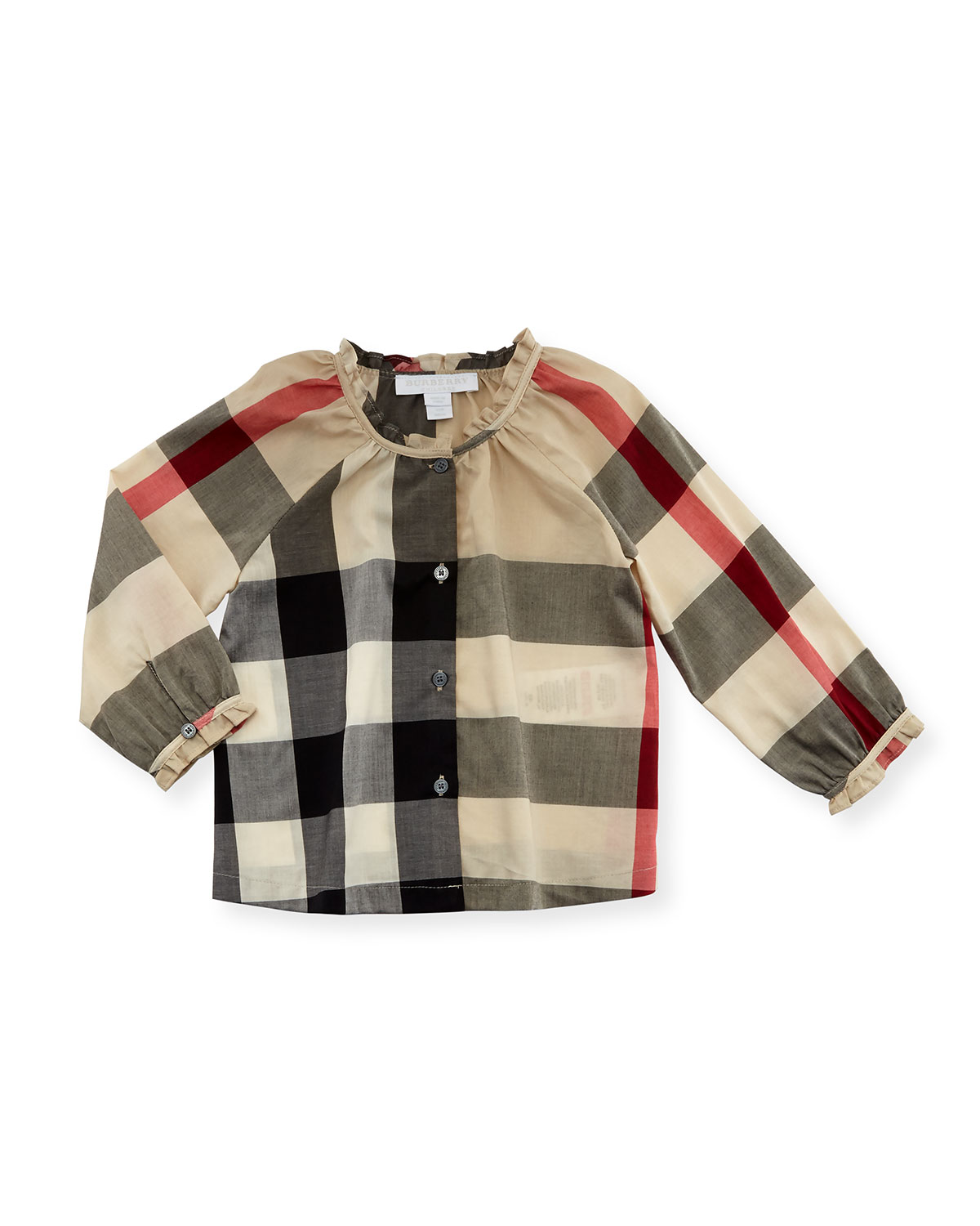 Marelle Long-Sleeve Check Top, New Classic, Size 6M-3