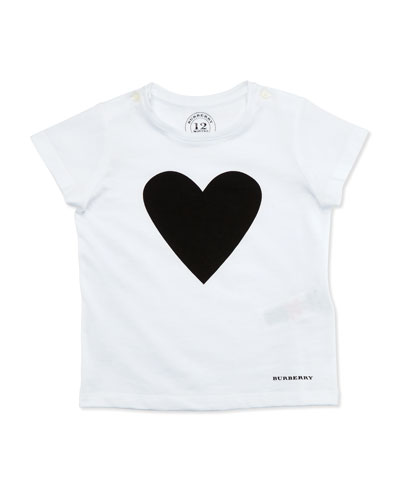 Love Heart Jersey Tee, White/Black, Size 6M-3