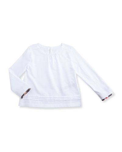 Gisselle Long-Sleeve Pintucked Jersey Tee, White, Size 6M-3