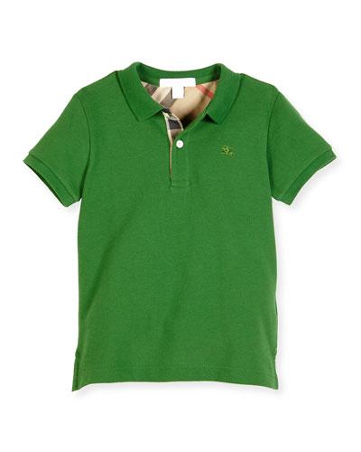 Mini PPM Jersey Polo Shirt, Bright Fern Green, Size 4-14