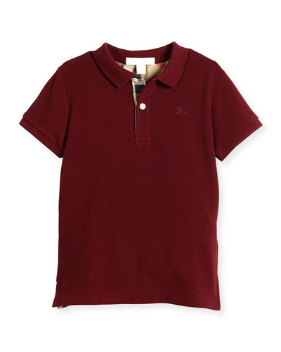 Mini PPM Jersey Polo Shirt, Burgundy Red, Size 4-14