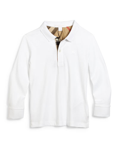 Long-Sleeve Mini PPM Jersey Polo Shirt, White, Size 4-14