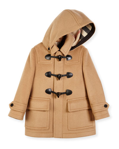 Burwood Hooded Wool Toggle Coat, New Camel, Size 4-14