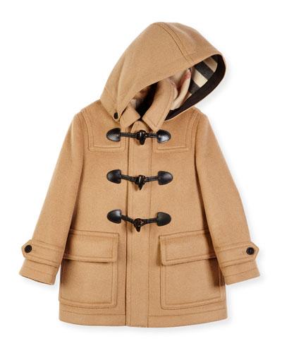 Burwood Hooded Wool Toggle Coat, New Camel, Size 4-14