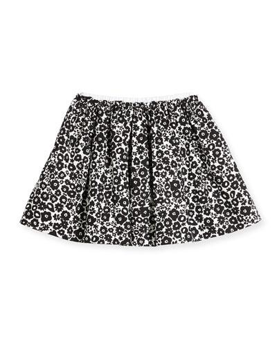 Gabriella Floral Poplin Skirt, Black/White, Size 4-14
