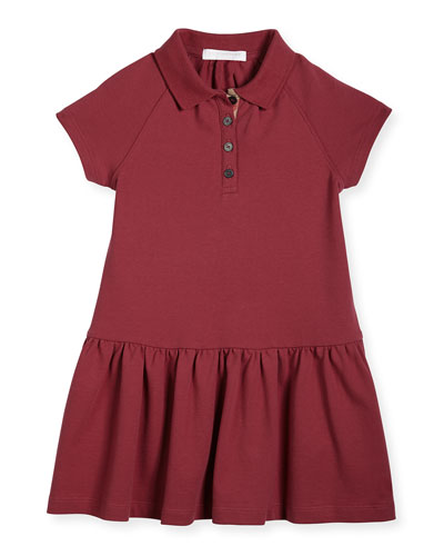 Cali Smocked Raglan Polo Dress, Peony Rose, Size 4-14