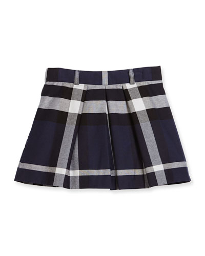 Kittie Check Pleated Skirt, Navy, Size 4-14