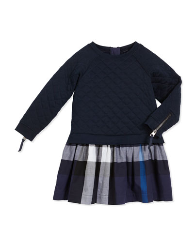 Orlia Long-Sleeve Quilted Combo Dress, Navy, Size 4-14