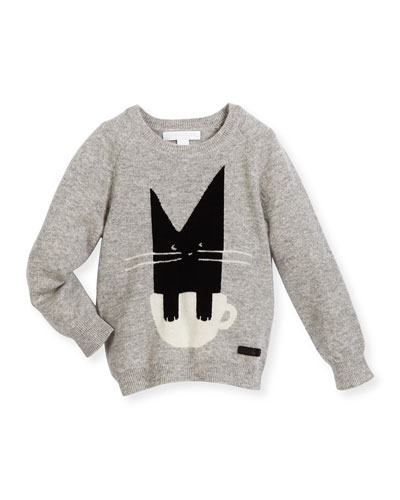 Raglan Crewneck Cat Sweater, Light Gray, Size 4-14