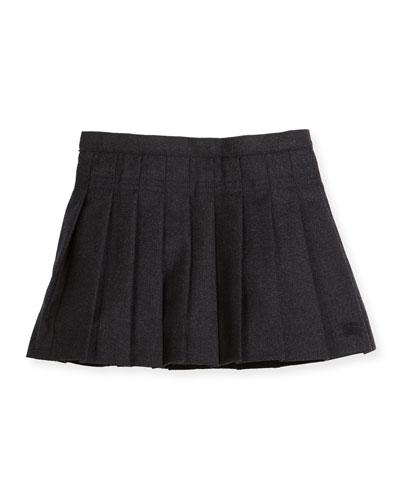 Pleated Wool Skirt, Charcoal Melange, Size 4-14