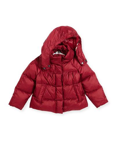 Daisey Hooded Down Puffer Jacket, Deep Plum Pink, Size 4-14