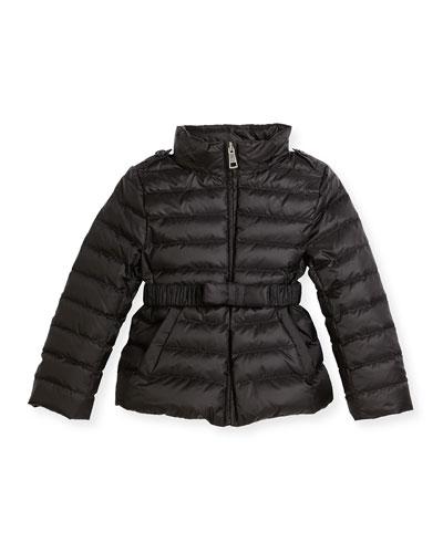 Janie Hooded Puffer Jacket, Black, Size 4-14