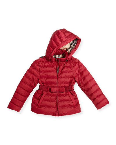 Janie Hooded Puffer Jacket, Deep Plum Pink, Size 4-14