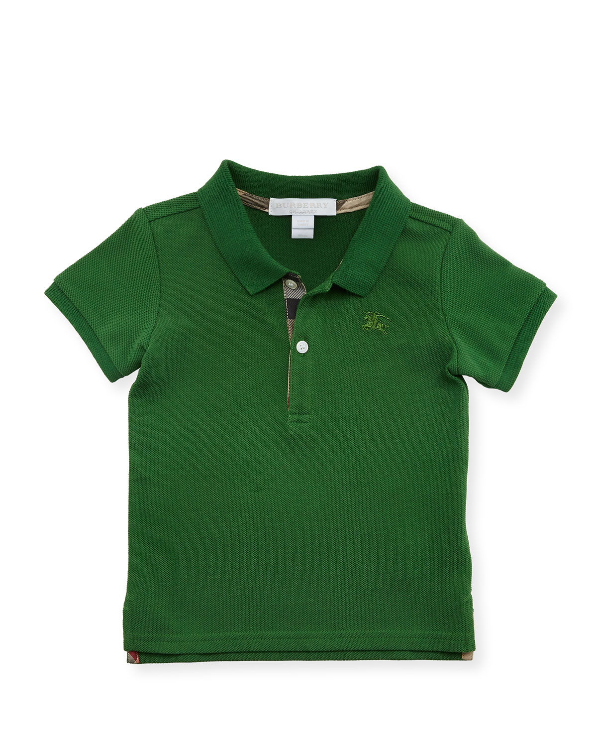 Palmer Short-Sleeve Pique Cotton Polo Shirt, Bright Fern Green, Size 6M-3