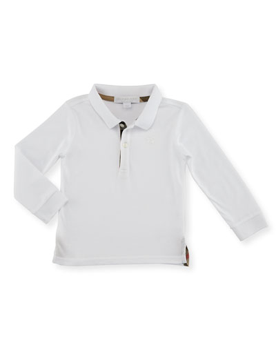 Palmer Long-Sleeve Pique Cotton Polo Shirt, White, Size 6M-3