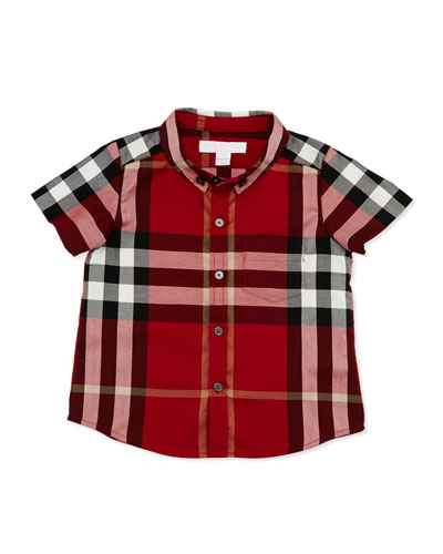 Fred Short-Sleeve Check Shirt, Parade Red, Size 6M-3