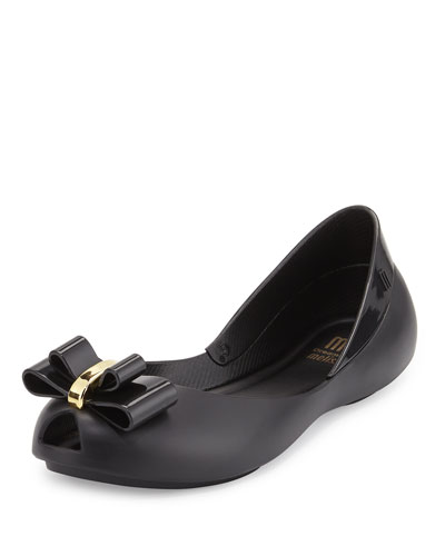 Queen Balk Peep-Toe Jelly Flat, Black, Youth