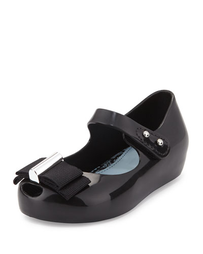 Ultragirl Grosgrain-Bow Mary Jane Jelly Flat, Black, Toddler