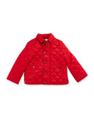 Luke Quilted Snap-Front Jacket, Bright Cherry Red, Size 6M-3