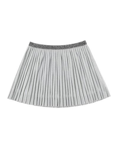 Metallic Plissé Skirt, Silver, Size 8-14
