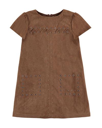 Studded Faux-Suede Shift Dress, Chestnut, Size 8-14