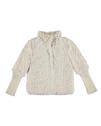 Sequin-Trim Faux-Fur Coat, Cream, Size 8-14