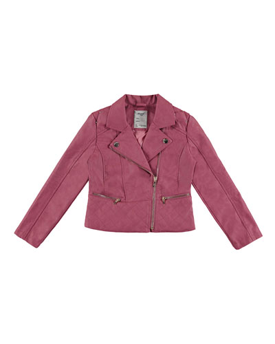 Faux-Leather Quilted-Trim Moto Jacket, Dark Pink, Size 3-6