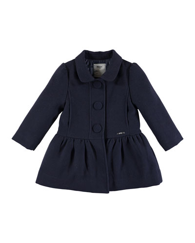 Smocked Felt Button-Front Coat, Navy, Size 3-6