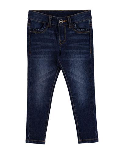 Basic Faded Skinny Jeans, Dark Blue, Size 3-6