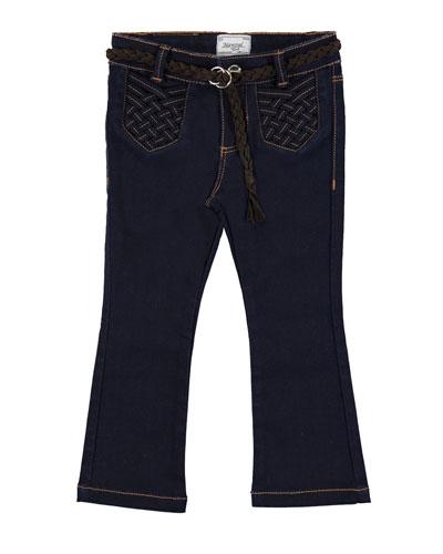 Belted Boot-Cut Jeans, Super Dark Denim, Size 3-6
