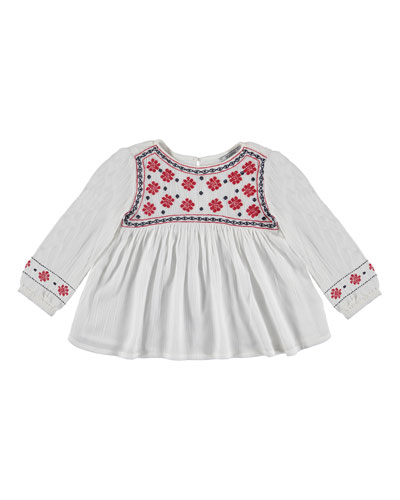 Shirred Long-Sleeve Embroidered Blouse, White, Size 3-6