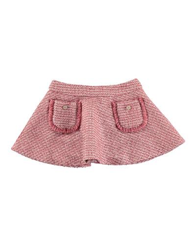 Tweed A-Line Skirt, Dark Pink, Size 3-6