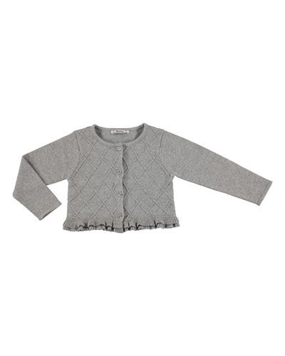 Diamond-Knit Button-Front Cardigan, Chromium, Size 3-6