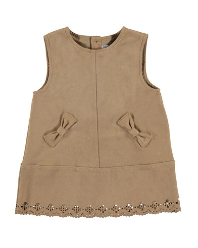 Sleeveless Faux-Suede Shift Dress, Caramel, Size 3-24 Months
