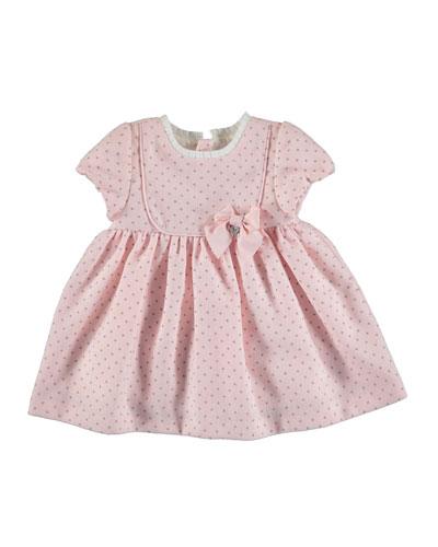 Cap-Sleeve Polka-Dot A-Line Dress, Rose, Size 3-24 Months
