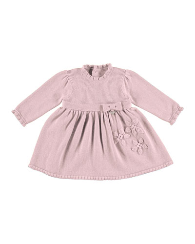 Long-Sleeve Knit Smocked Dress, Rose, Size 3-24 Months