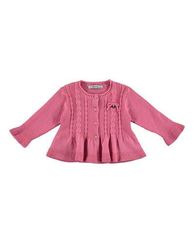 Cable-Knit Peplum Cardigan, Fuchsia, Size 3-24 Months
