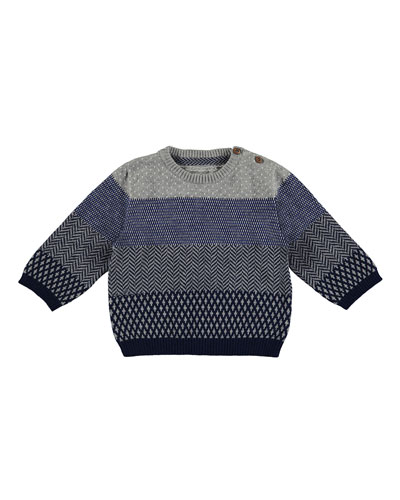 Multipattern-Stripe Pullover Sweater, Multicolor, Size 3-24 Months