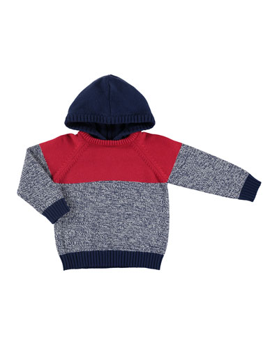 Hooded Colorblock Sweater, Blue/Red