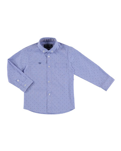 Long-Sleeve Micro-Check Shirt, Navy/Red, Size 3-6