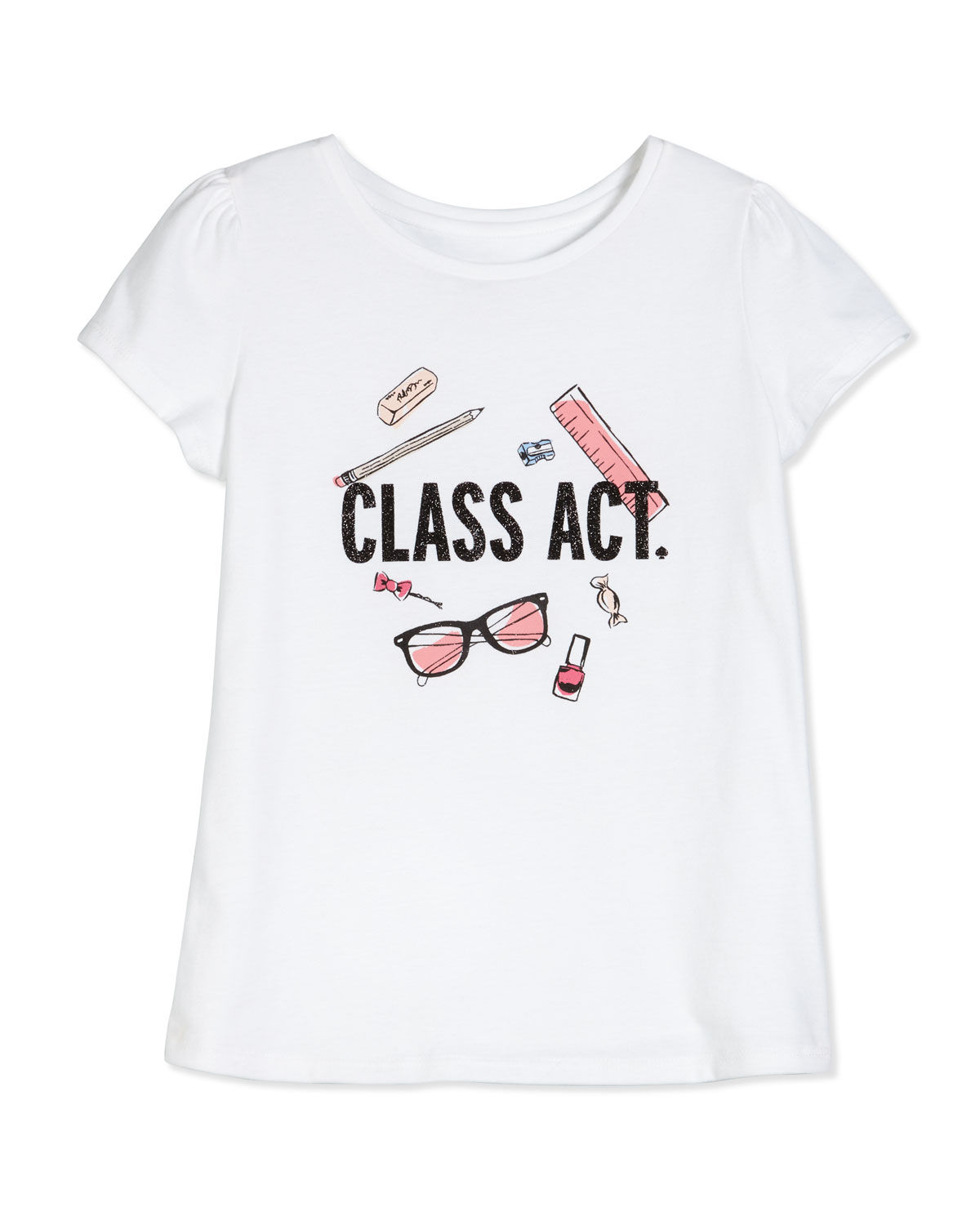 class act cotton jersey tee, white, size 2-6