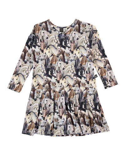 Cillie Pleated Horse-Print Dress, Multicolor, Size 2-12