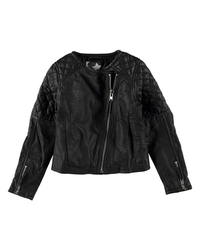Hubertha Zip-Front Leather Moto Jacket, Black, Size 6-14