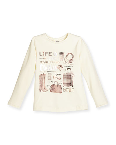 Long-Sleeve Accessories Jersey Tee, White, Size 3-6